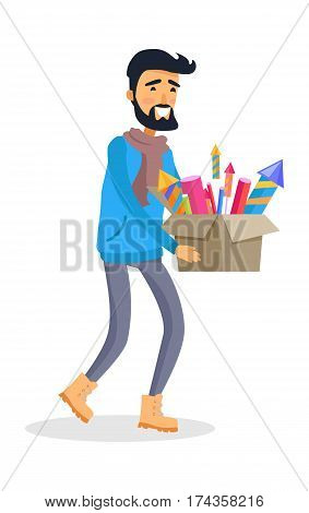 Smiling cartoon man in sportswear carries carton box full of pyrotechnics. Preparations for New Year celebration and winter holidays. Flat vector portrait of smiling male person with fireworks