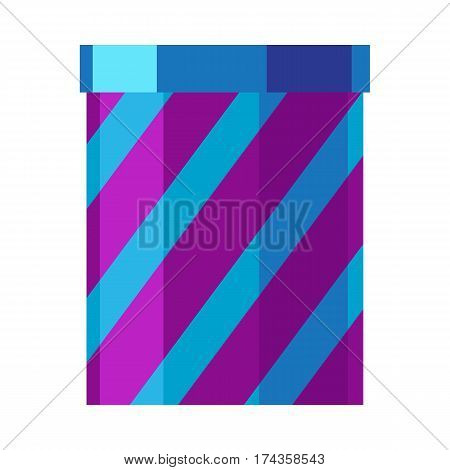 Fireworks box isolated vector illustration. Holiday celebration striped pyrotechnic devices for festival in blue and purple colors. Salute elements used for aesthetic and entertainment purposes.