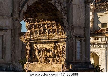 Arch Of Titus Relief In Evening Sun
