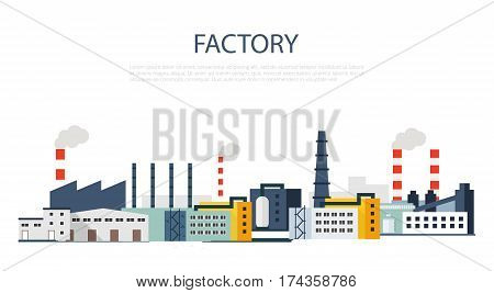 Industrial factory buildings icon. Factory Landscape. Vector flat illustration.