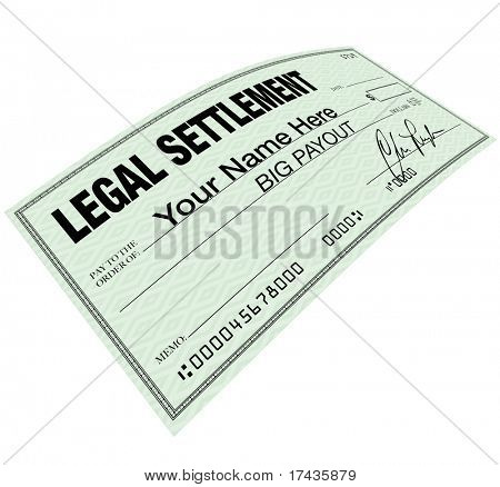 A lawsuit settlement check with the words Your Name Here, indicating that you could be eligible for a big payout on a legal suit