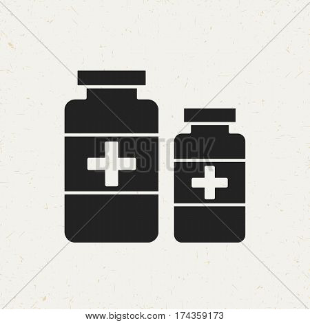 Flat monochrome medicine bottles icon in vintage style. Isolated medicine bottles icon for use in variety of projects. Black and white vector medicine bottles icon for web sites and apps.