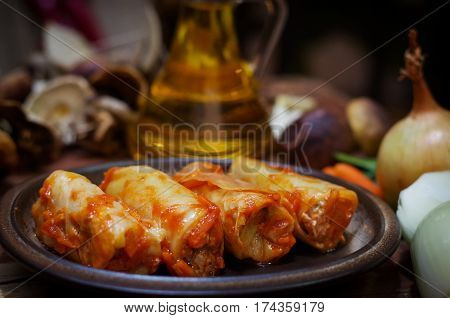 Meatless stuffed cabbage with onions and hryvnia and tomato sauce