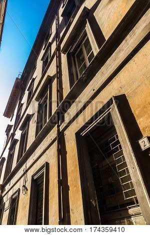 Old Residential Building Front In Narrow Street, Rome.