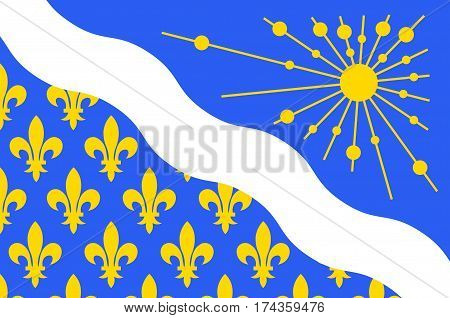 Flag of Essonne is a French department in the Ile-de-France region. Vector illustration