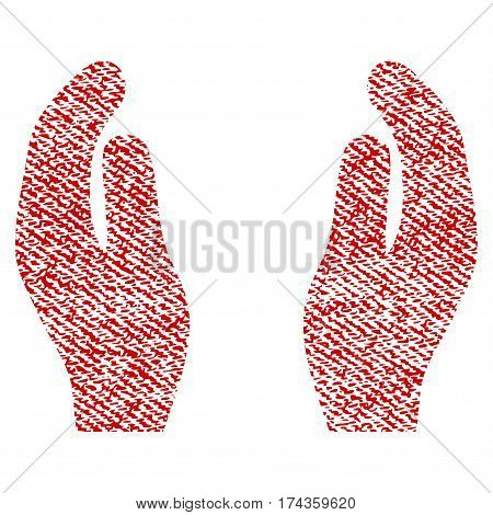 Applause Hands vector textured icon for overlay watermark stamps. Red fabric vectorized texture. Symbol with dirty design. Red ink rubber seal stamp with fiber textile structure.