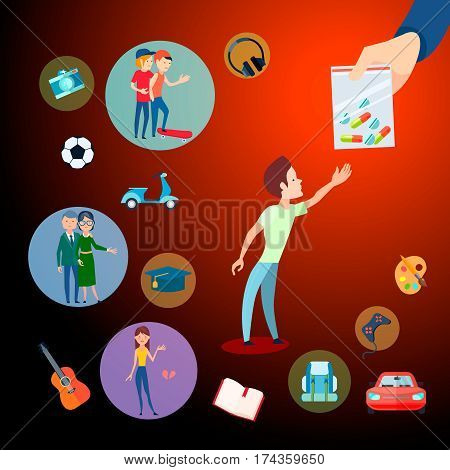 Drug addict concept with young male character making long arm for narcotics bag with interest icons vector illustration