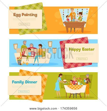 Horizontal set of easter banners with family characters holiday activities with text and read more button vector illustration