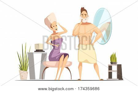 Married couple hygienic hair removal procedure in family bathroom together with wet shaving man cartoon vector illustration