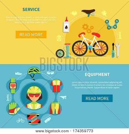 Cycling horizontal banners set with equipment symbols flat isolated vector illustration