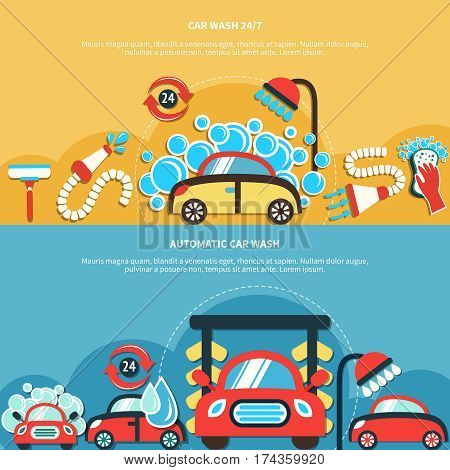 Set of two horizontal car wash banners with doodle style images of washing cars water drops vector illustration