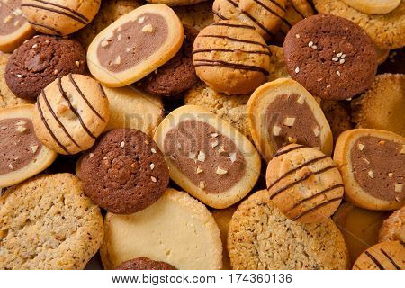 close-up shot of the heap of different cookies