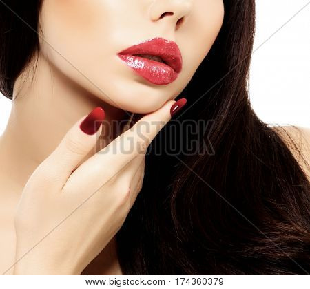Part of woman's face with red lips