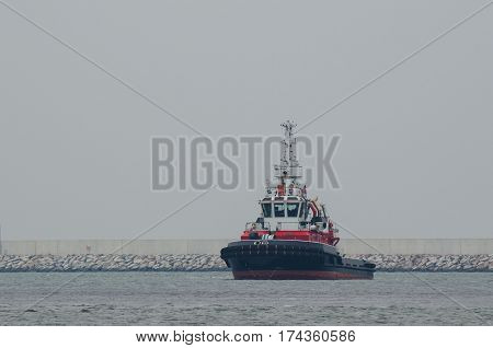 FIREBOAT - Fireboat before the breakwater in harbor basin