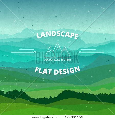 Flat landscape illustration. Beautiful hills and mountains, vector design