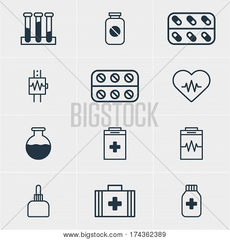 Vector Illustration Of 12 Medicine Icons. Editable Pack Of Treatment, Aspirin, Exigency And Other Elements.