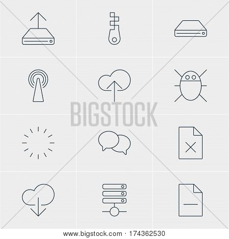 Vector Illustration Of 12 Web Icons. Editable Pack Of Hard Drive Disk, Delete Data, Router And Other Elements.