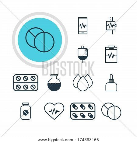 Vector Illustration Of 12 Medical Icons. Editable Pack Of Round Tablet, Vial, Antibody And Other Elements.