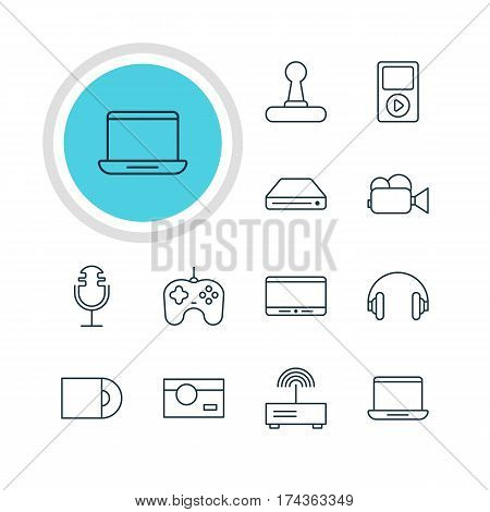 Vector Illustration Of 12 Technology Icons. Editable Pack Of Camcorder, Memory Storage, Joypad And Other Elements.