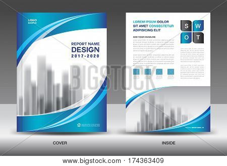 Brochure template layout, Blue cover design, annual report, magazine ads, flyer, advertisement, catalog, Booklet in A4
