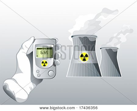 Hand with Geiger counter near nuclear power station