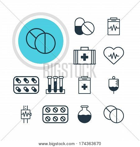Vector Illustration Of 12 Medicine Icons. Editable Pack Of Pills, Treatment, Antibody And Other Elements.