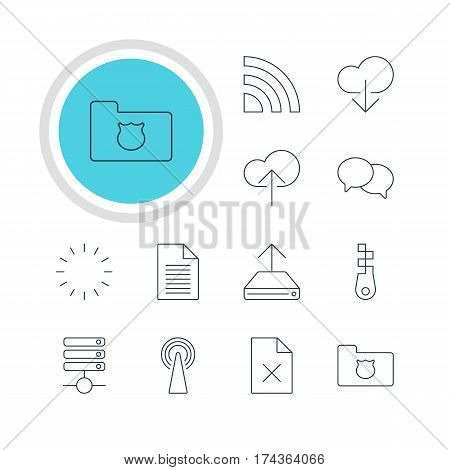 Vector Illustration Of 12 Web Icons. Editable Pack Of Cloud Download, Note, Router And Other Elements.