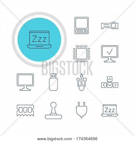 Vector Illustration Of 12 Notebook Icons. Editable Pack Of Online Computer, Usb Icon, Socket And Other Elements.