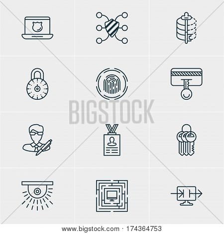 Vector Illustration Of 12 Protection Icons. Editable Pack Of Finger Identifier, System Security, Send Information And Other Elements.