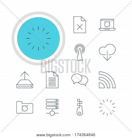 Vector Illustration Of 12 Network Icons. Editable Pack Of Data Upload, Fastener, Waiting And Other Elements.