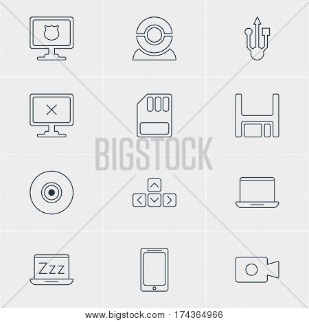 Vector Illustration Of 12 Laptop Icons. Editable Pack Of Movie Cam, Objective, Diskette And Other Elements.