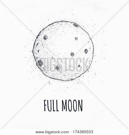 Logo hand drawn vector illustration on white background. Full moon in outer space with lunar craters.