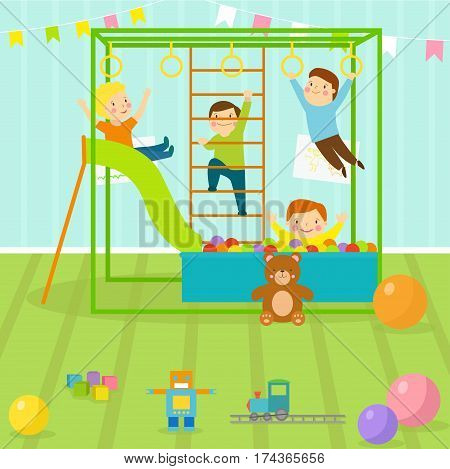 Kids playroom with light furniture decor playground and toys on the floor carpet decorating flat style cartoon comfortable interior vector illustration. Modern bedroom indoor childhood home.