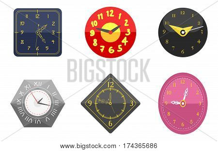 Wall clock circle sign with chronometer pointer collection and deadline stopwatch speed office alarm timer minute watch vector illustration icons set. Time tool and modern round hour meter equipment.