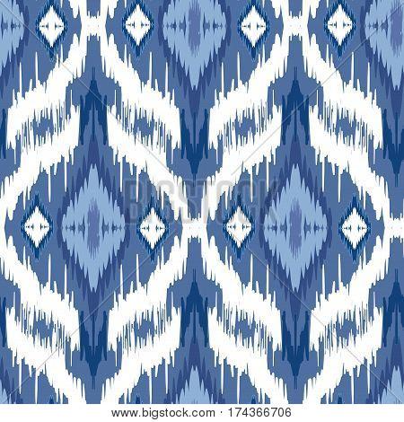 Ikat Ogee background - Ethnic folk seamless pattern. Boho Style