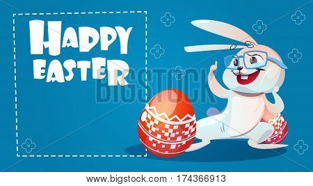 Rabbit Easter Holiday Bunny Hold Decorated Eggs Greeting Card Flat Vector Illustration