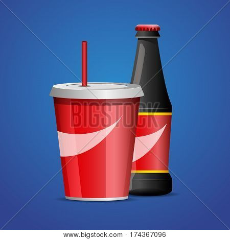 Paper cup of soda and Glass bottle of cola soda with red lable vector illustration. Flat designed style.