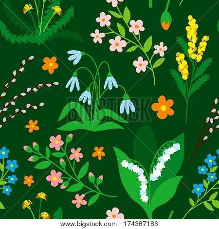 Nature flowers wreath flowers foliage seamless pattern flat style. Greeting holidays card vector. Silhouette green nature green flora decoration.