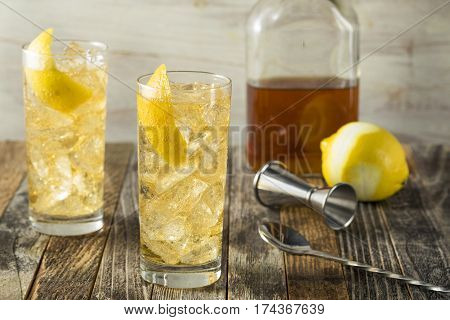Homemade Whiskey Highball With Soda Water