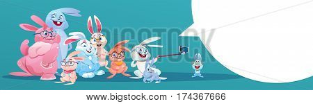 Rabbit Taking Selfie Photo Easter Holiday Bunny Group Greeting Card Flat Vector Illustration
