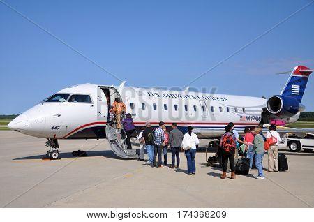 NEWPORT NEWS, VA, USA - MAY. 7, 2012: US Airways Express Bombardier CRJ (Canadair Regional Jet) 200 at Newport News Williamsburg International Airport (PHF) in Newport News, Virginia, USA.