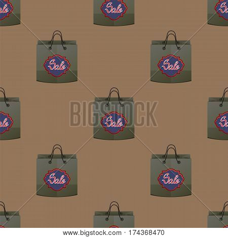 Shopping Paper Bag Seamless Pattern on Brown Background