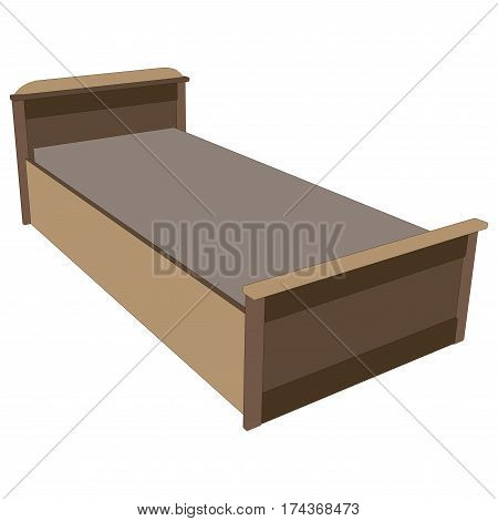 Vector wooden single bed isolated on white