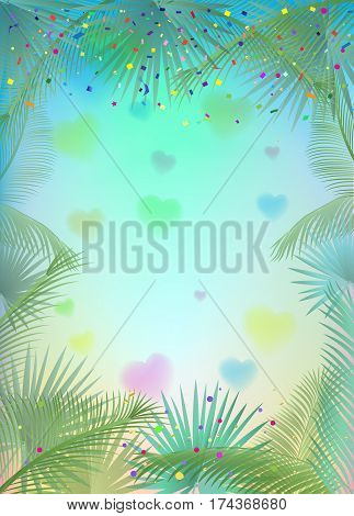 Confetti poster. Abstract background with colorful confetti, bright sparkles, palm tree leaves frame. Vector illustration. Tropical, exotic palm tree leaves frame on blurred background.