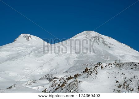 Double peak of Mount Elbrus in the sunny weather