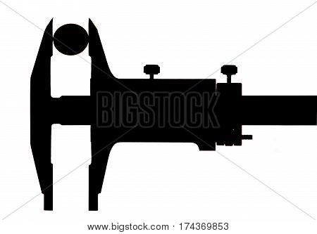 Silhouette of trammel with coin on white background isolated