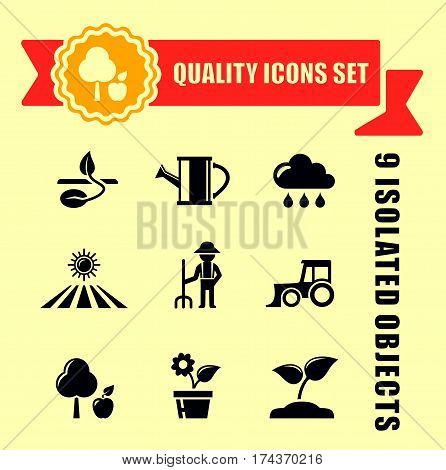 agriculture or garden concept icons set with red tape