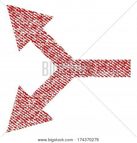 Bifurcation Arrow Left vector textured icon for overlay watermark stamps. Red fabric vectorized texture. Symbol with scratched design. Red ink rubber seal stamp with fiber textile structure.