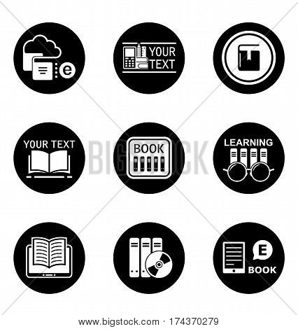 set of book learning concept round icons