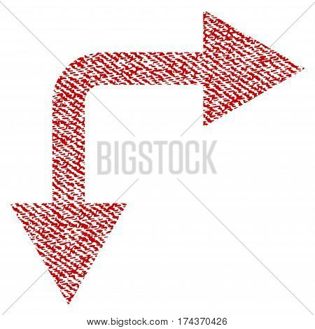 Bifurcation Arrow Right Down vector textured icon for overlay watermark stamps. Red fabric vectorized texture. Symbol with unclean design. Red ink rubber seal stamp with fiber textile structure.